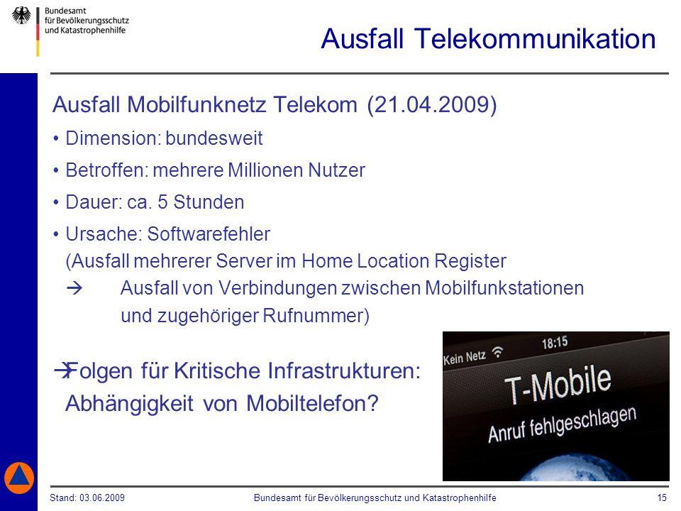 Stand: 03.06.2009Bundesamt für Bevölkerungsschutz und Katastrophenhilfe 15 Ausfall Telekommunikation Ausfall Mobilfunknetz Telekom (21.04.2009) Dimens