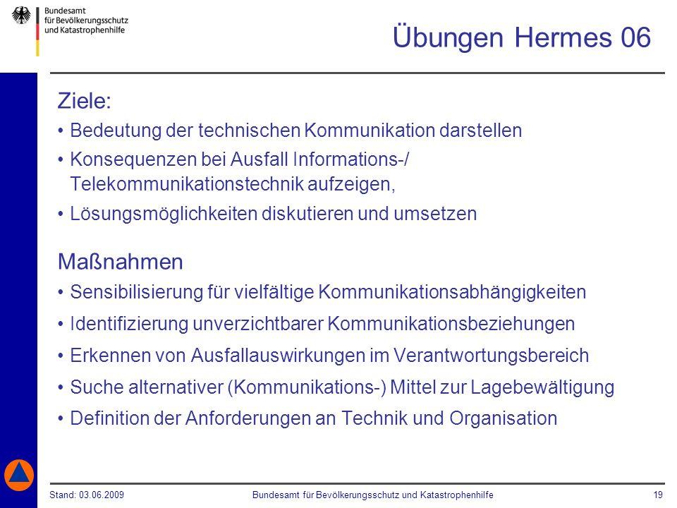 Stand: 03.06.2009Bundesamt für Bevölkerungsschutz und Katastrophenhilfe 19 Übungen Hermes 06 Ziele: Bedeutung der technischen Kommunikation darstellen
