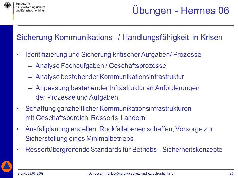Stand: 03.06.2009Bundesamt für Bevölkerungsschutz und Katastrophenhilfe 20 Übungen - Hermes 06 Sicherung Kommunikations- / Handlungsfähigkeit in Krise