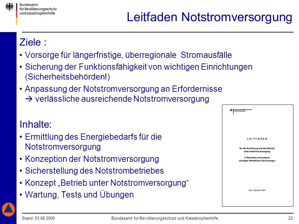 Stand: 03.06.2009Bundesamt für Bevölkerungsschutz und Katastrophenhilfe 22 Leitfaden Notstromversorgung Ziele : Vorsorge für längerfristige, überregio