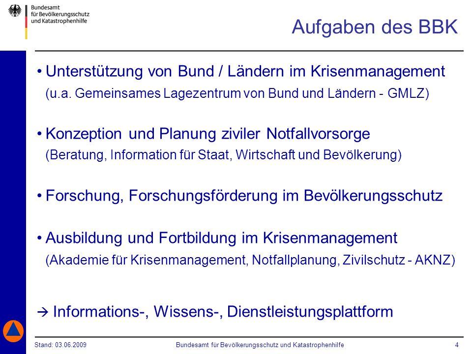 Stand: 03.06.2009Bundesamt für Bevölkerungsschutz und Katastrophenhilfe 4 Unterstützung von Bund / Ländern im Krisenmanagement (u.a. Gemeinsames Lagez
