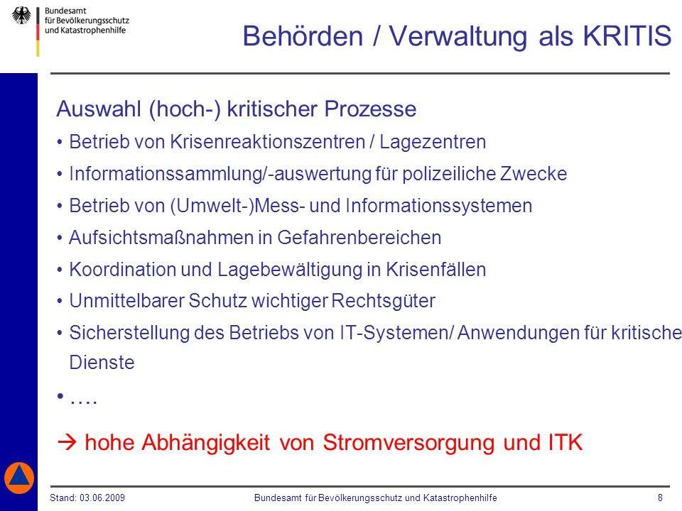 Stand: 03.06.2009Bundesamt für Bevölkerungsschutz und Katastrophenhilfe 8 Behörden / Verwaltung als KRITIS Auswahl (hoch-) kritischer Prozesse Betrieb