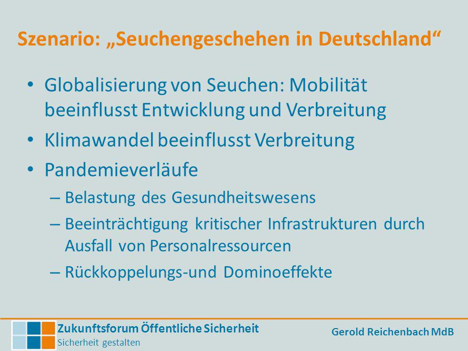 Zukunftsforum Öffentliche Sicherheit Sicherheit gestalten Gerold Reichenbach MdB Szenario: Seuchengeschehen in Deutschland Globalisierung von Seuchen: