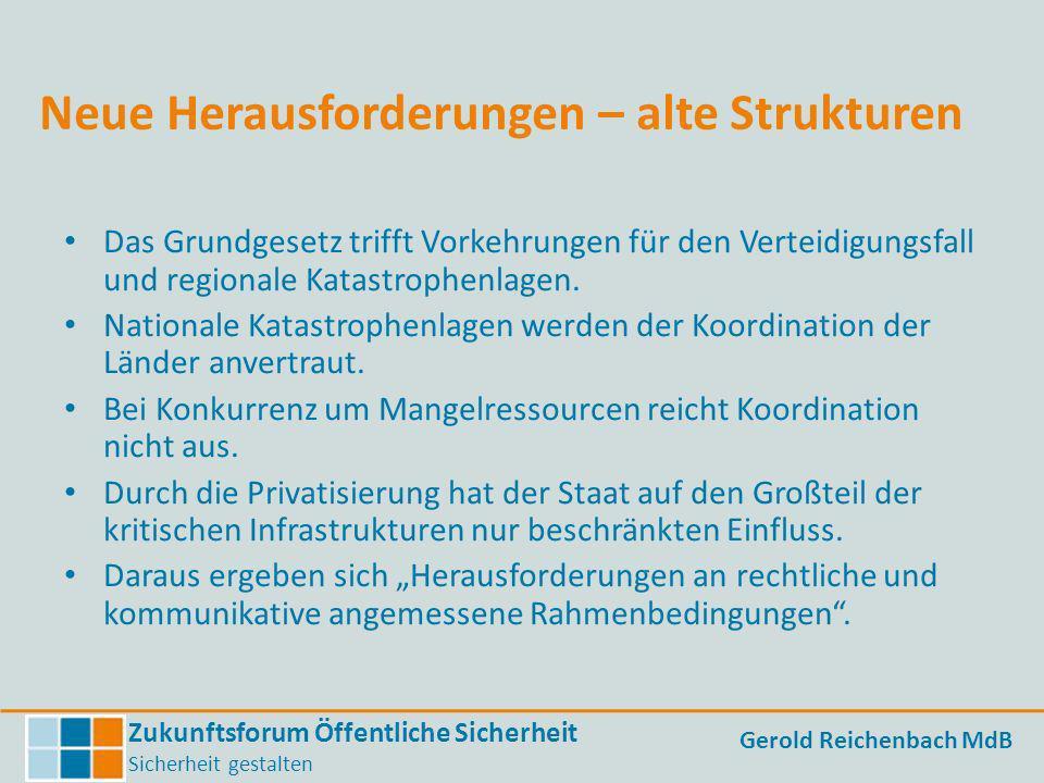 Zukunftsforum Öffentliche Sicherheit Sicherheit gestalten Gerold Reichenbach MdB Neue Herausforderungen – alte Strukturen Das Grundgesetz trifft Vorke