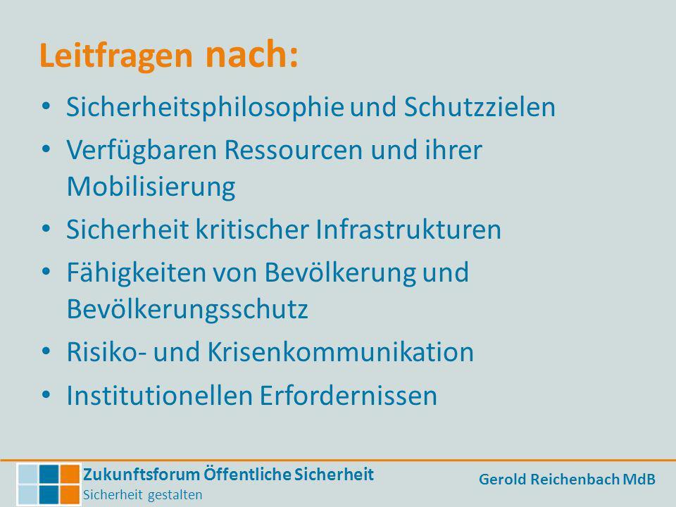 Zukunftsforum Öffentliche Sicherheit Sicherheit gestalten Gerold Reichenbach MdB Leitfragen nach: Sicherheitsphilosophie und Schutzzielen Verfügbaren