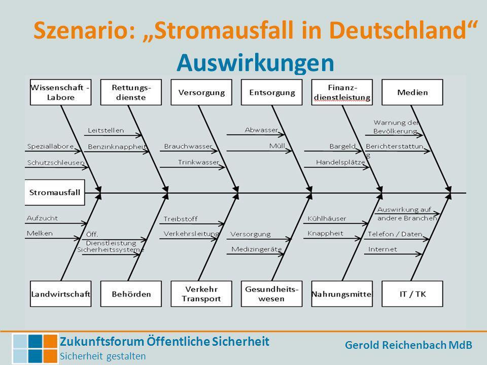 Zukunftsforum Öffentliche Sicherheit Sicherheit gestalten Gerold Reichenbach MdB Szenario: Stromausfall in Deutschland Auswirkungen