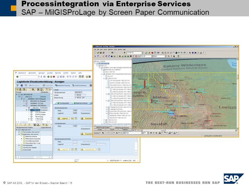 SAP AG 2008, - SAP für den Einsatz – Stephan Baecht / 15 Processintegration via Enterprise Services SAP – MilGISProLage by Screen Paper Communication