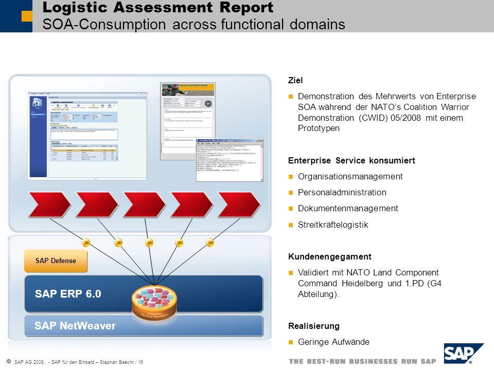 SAP AG 2008, - SAP für den Einsatz – Stephan Baecht / 16 SAP ERP 6.0 SAP Defense Ziel Demonstration des Mehrwerts von Enterprise SOA während der NATOs