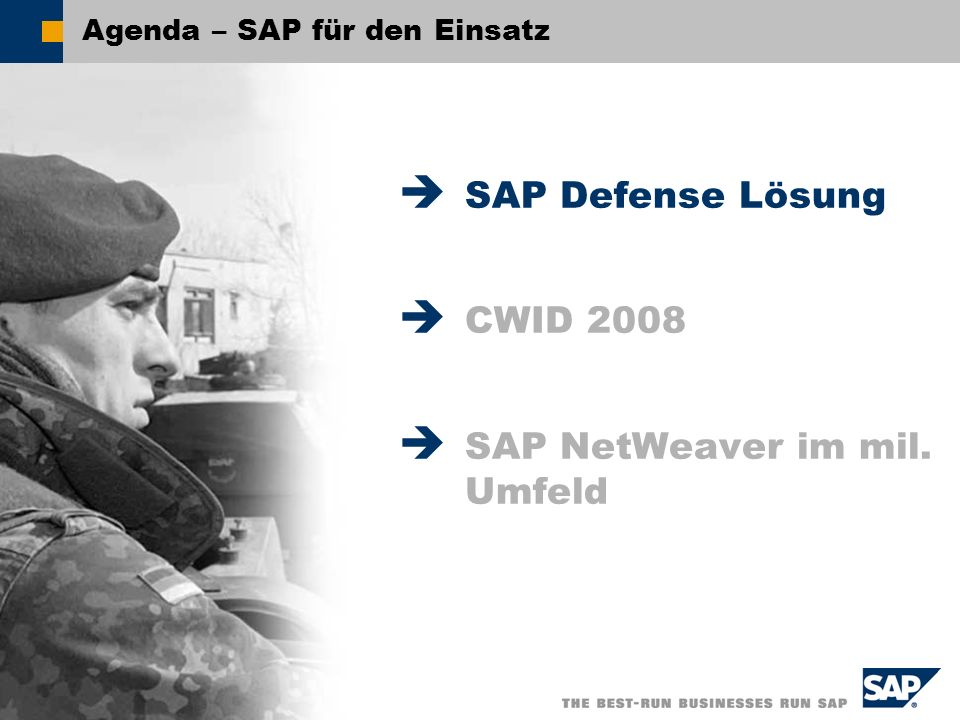 SAP AG 2008, - SAP für den Einsatz – Stephan Baecht / 2 Agenda – SAP für den Einsatz SAP Defense Lösung CWID 2008 SAP NetWeaver im mil. Umfeld