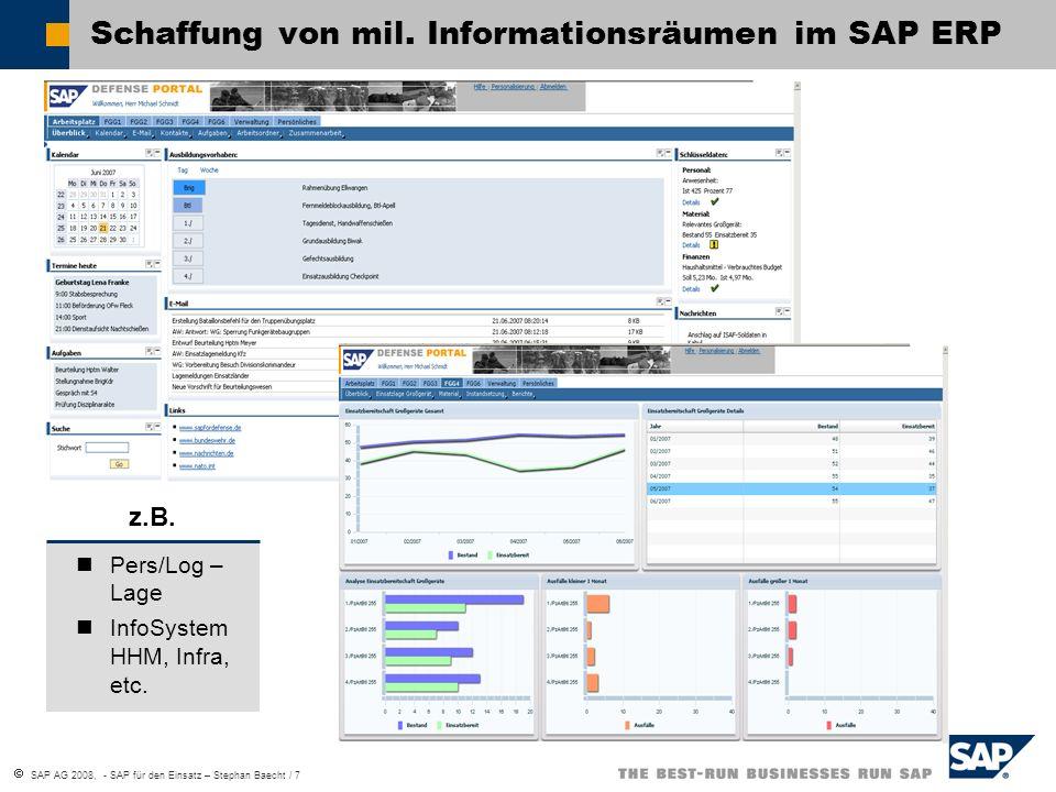SAP AG 2008, - SAP für den Einsatz – Stephan Baecht / 7 Schaffung von mil. Informationsräumen im SAP ERP Pers/Log – Lage InfoSystem HHM, Infra, etc. z