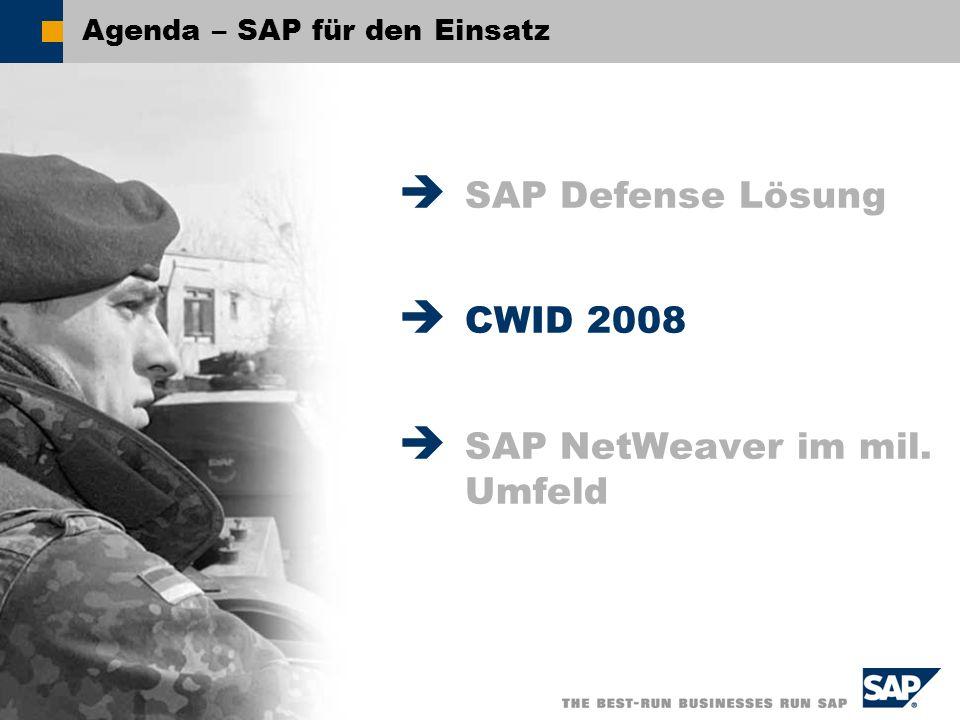 SAP AG 2008, - SAP für den Einsatz – Stephan Baecht / 9 Agenda – SAP für den Einsatz SAP Defense Lösung CWID 2008 SAP NetWeaver im mil. Umfeld