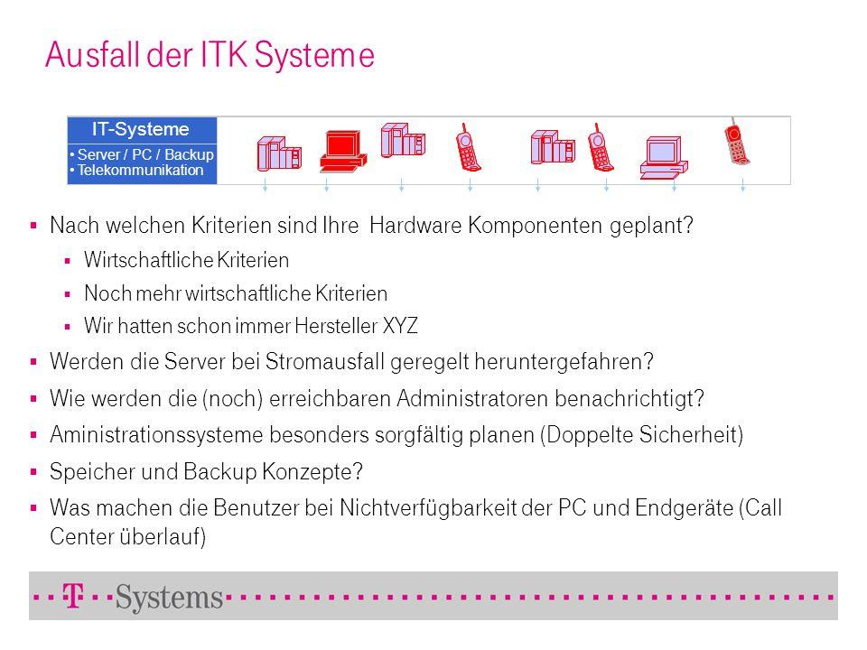Ausfall der ITK Systeme IT-Systeme Server / PC / Backup Telekommunikation Nach welchen Kriterien sind Ihre Hardware Komponenten geplant? Wirtschaftlic