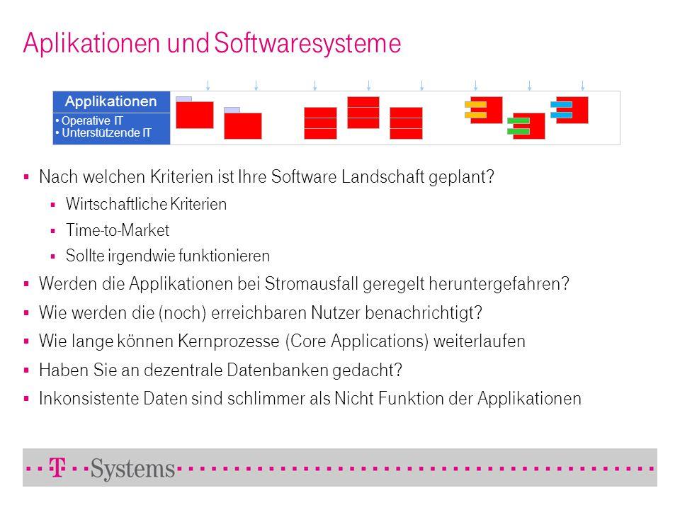 Aplikationen und Softwaresysteme Applikationen Operative IT Unterstützende IT Nach welchen Kriterien ist Ihre Software Landschaft geplant? Wirtschaftl