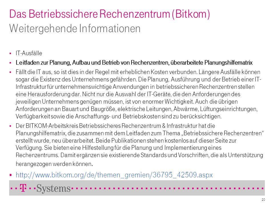 Das Betriebssichere Rechenzentrum (Bitkom) Weitergehende Informationen IT-Ausfälle Leitfaden zur Planung, Aufbau und Betrieb von Rechenzentren, überar
