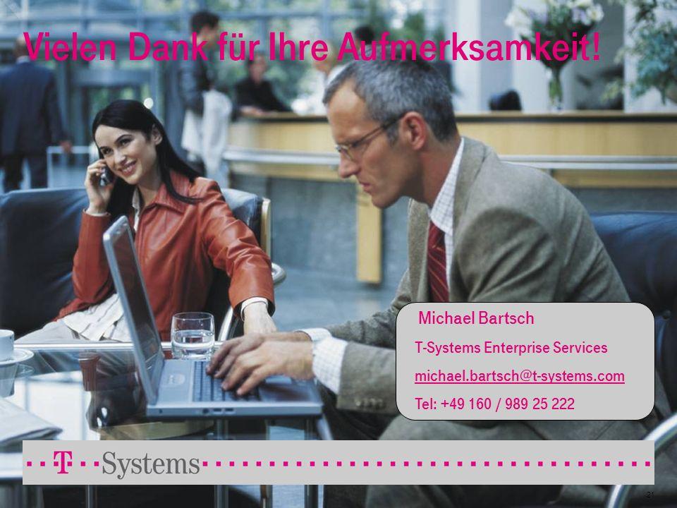 21 Vielen Dank für Ihre Aufmerksamkeit! Michael Bartsch T-Systems Enterprise Services michael.bartsch@t-systems.com Tel: +49 160 / 989 25 222