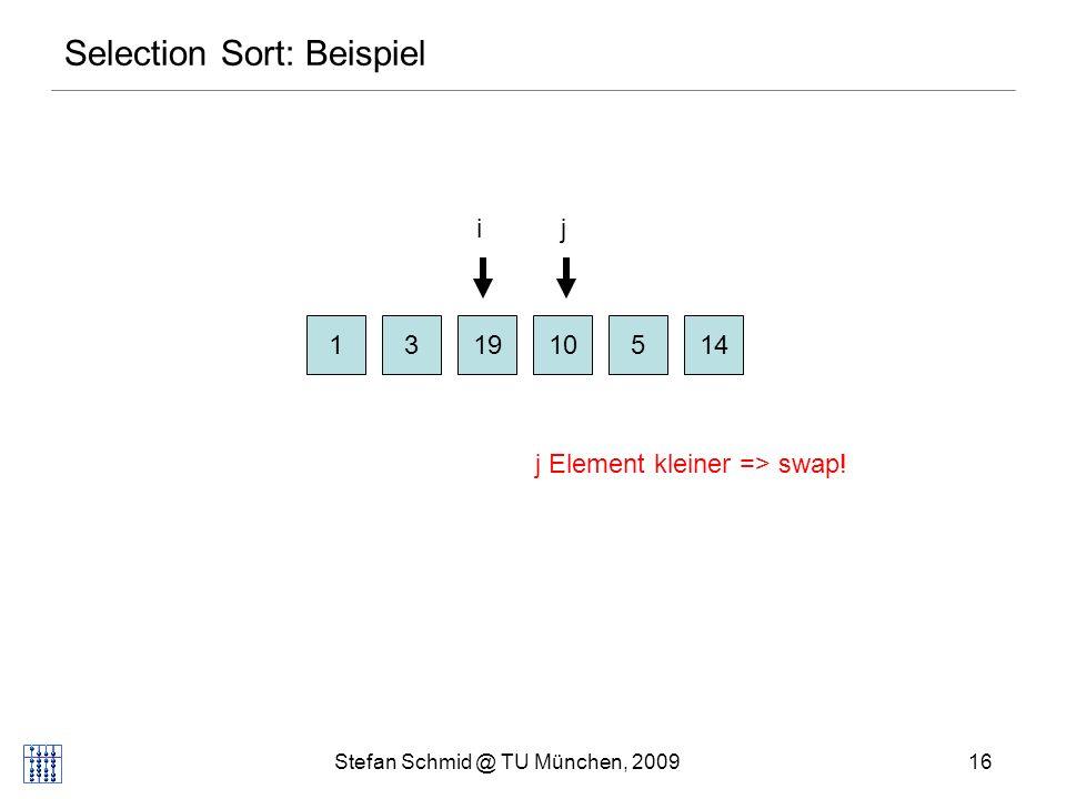 Stefan Schmid @ TU München, 200917 Selection Sort: Beispiel 131951410 ij j Element kleiner => swap!