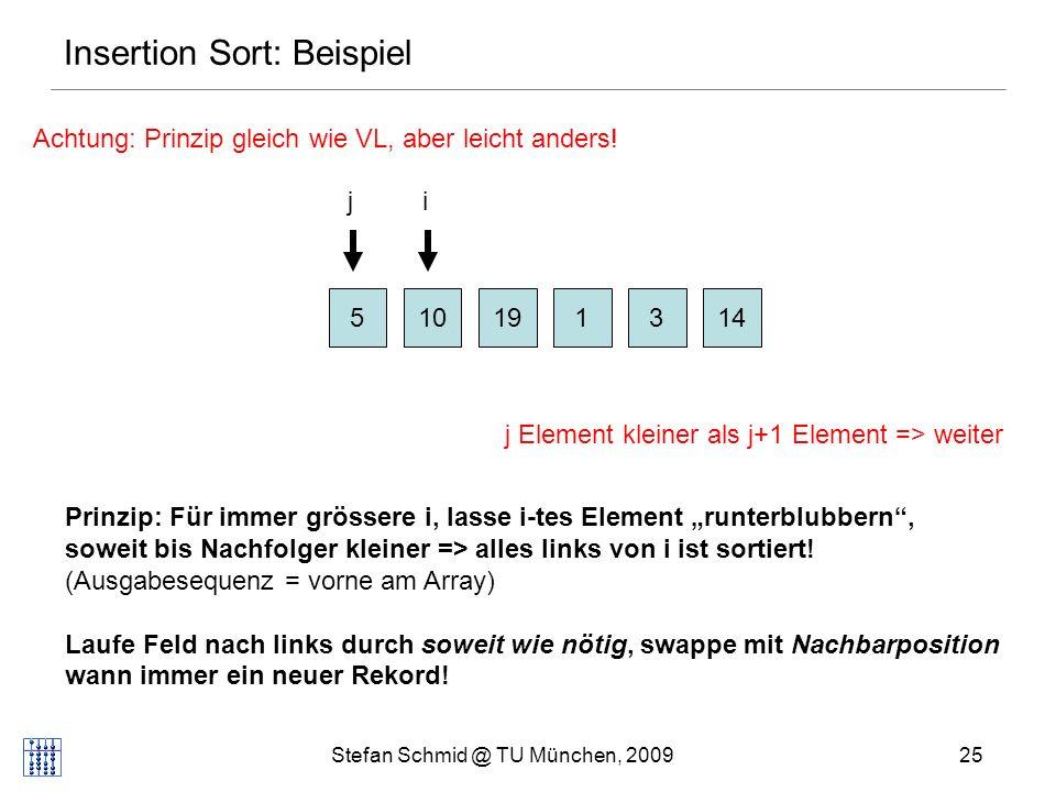 Stefan Schmid @ TU München, 200926 Insertion Sort: Beispiel 510131419 ij j Element kleiner als j+1 Element => weiter