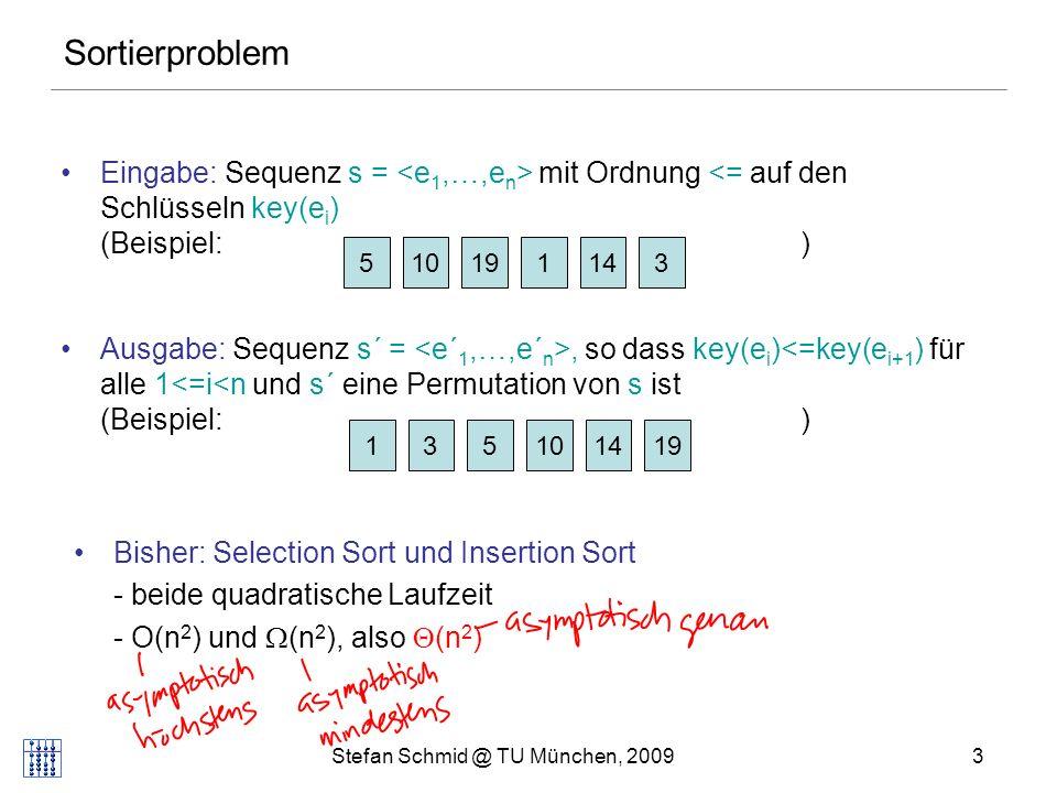 Stefan Schmid @ TU München, 20094 Selection Sort: Beispiel 510131419 ij j Element grösser => weiter Prinzip: Suche Minimum im Feld rechts von i und füge es bei i ein.