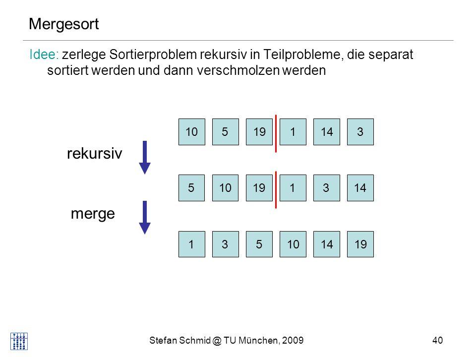 Stefan Schmid @ TU München, 200940 Mergesort Idee: zerlege Sortierproblem rekursiv in Teilprobleme, die separat sortiert werden und dann verschmolzen werden 105114319 510131419 131014195 rekursiv merge