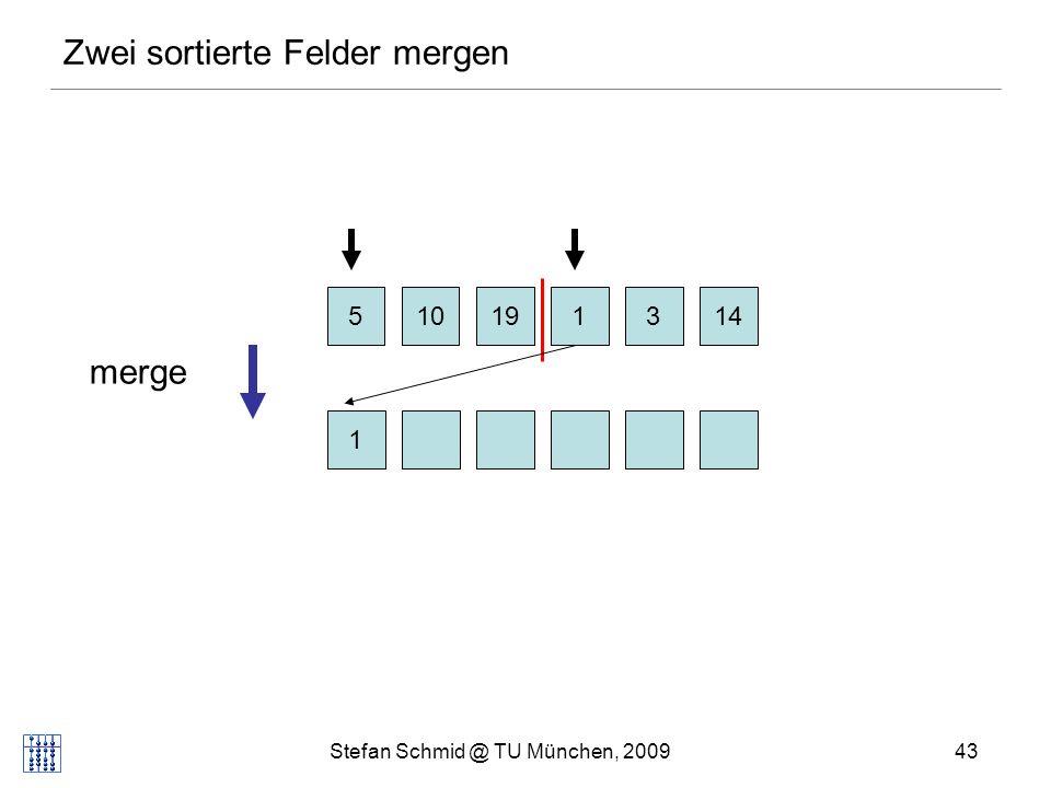 Stefan Schmid @ TU München, 200943 Zwei sortierte Felder mergen 510131419 1 merge