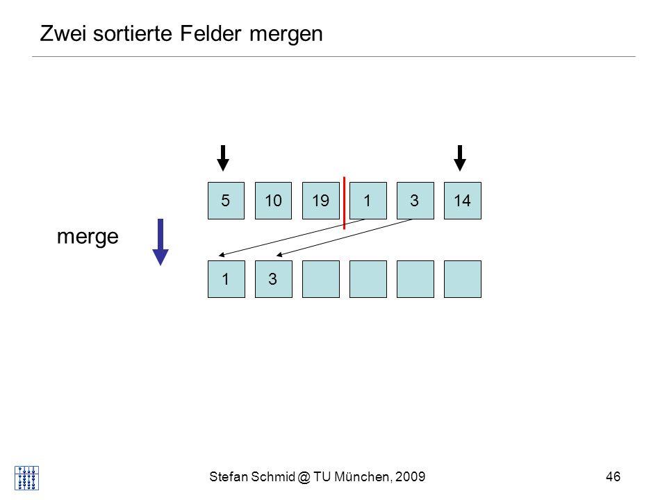 Stefan Schmid @ TU München, 200947 Zwei sortierte Felder mergen 510131419 135 merge