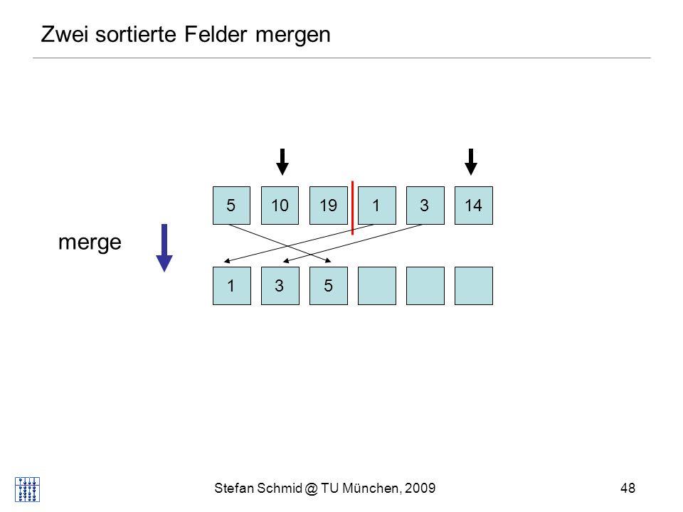 Stefan Schmid @ TU München, 200949 Zwei sortierte Felder mergen 510131419 13105 merge