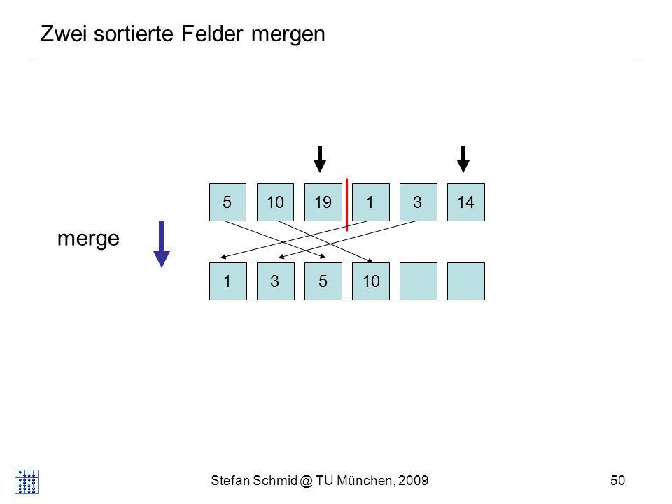Stefan Schmid @ TU München, 200951 Zwei sortierte Felder mergen 510131419 1310145 merge