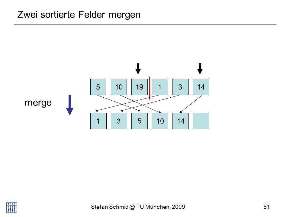 Stefan Schmid @ TU München, 200952 Zwei sortierte Felder mergen 510131419 1310145 merge