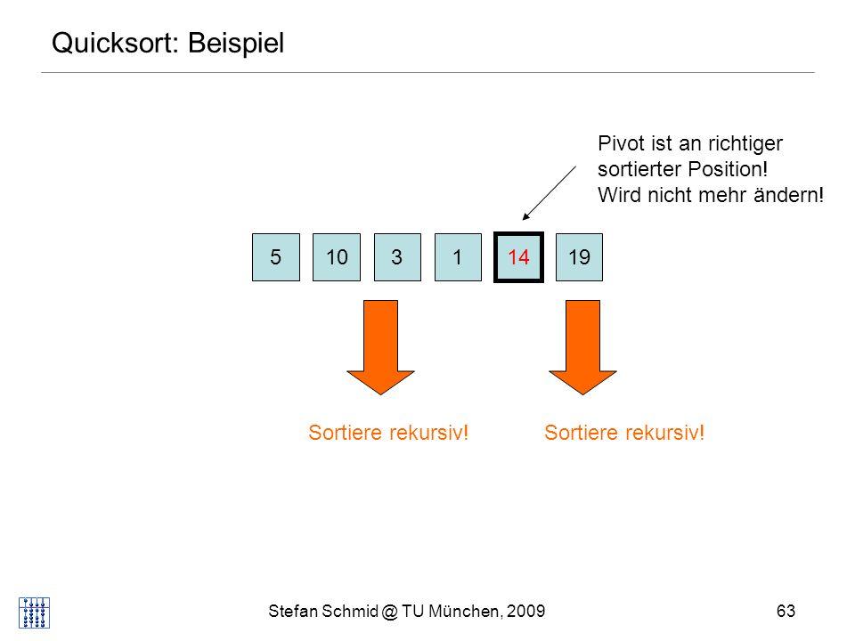 Stefan Schmid @ TU München, 200964 Quicksort Problem: im worst case kann Quicksort (n 2 ) Laufzeit haben (wenn schon sortiert) Lösungen: wähle zufälliges Pivotelement (Laufzeit O(n log n) mit hoher W.keit) berechne Median (Element in Mitte) .