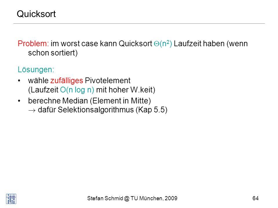 Stefan Schmid @ TU München, 200965 Quicksort: Worst-Case 131014 19 5 Pivot 1 Sortiere rekursiv!