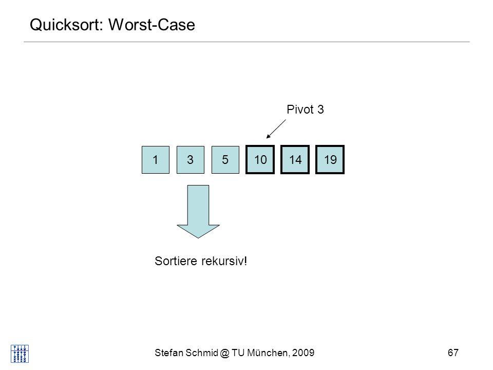 Stefan Schmid @ TU München, 200967 Quicksort: Worst-Case 13 101419 5 Pivot 3 Sortiere rekursiv!