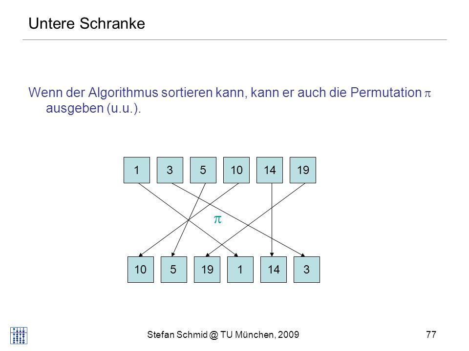 Stefan Schmid @ TU München, 200978 Untere Schranke Beliebiger vergleichsbasierter Algo als Entscheidungsbaum: Zeit e 1 <e 2 .