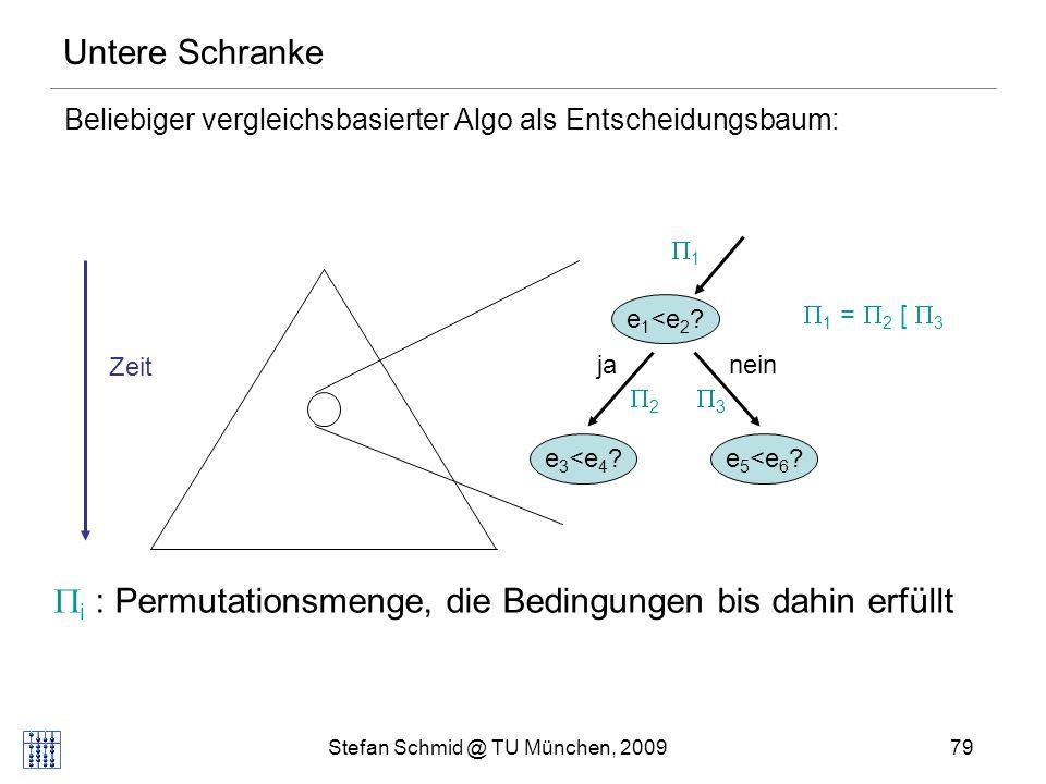 Stefan Schmid @ TU München, 200979 Untere Schranke Beliebiger vergleichsbasierter Algo als Entscheidungsbaum: Zeit e 1 <e 2 .