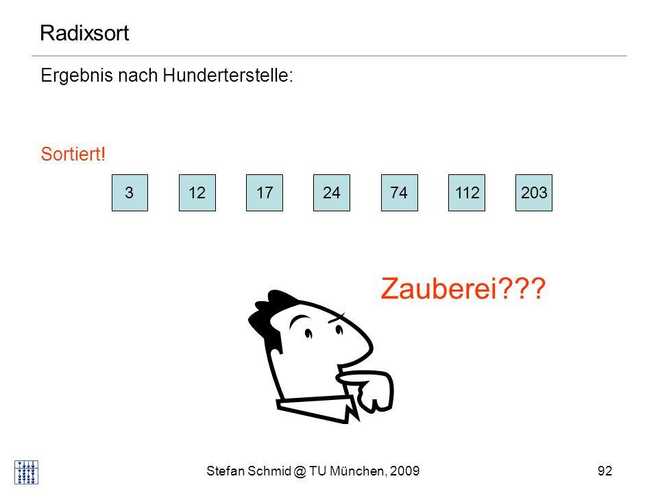 Stefan Schmid @ TU München, 200993 Radixsort Korrektheit: Für jedes Paar x,y mit key(x) i (j wächst gegen links: kleine Stellen zuerst) Schleifendurchlauf für i: pos s (x)<pos s (y) (pos s (z): Position von z in Folge s) Schleifendurchlauf für j>i: Ordnung wird beibehalten wegen pushBack in KSort 31 3 5 < 31 4 6