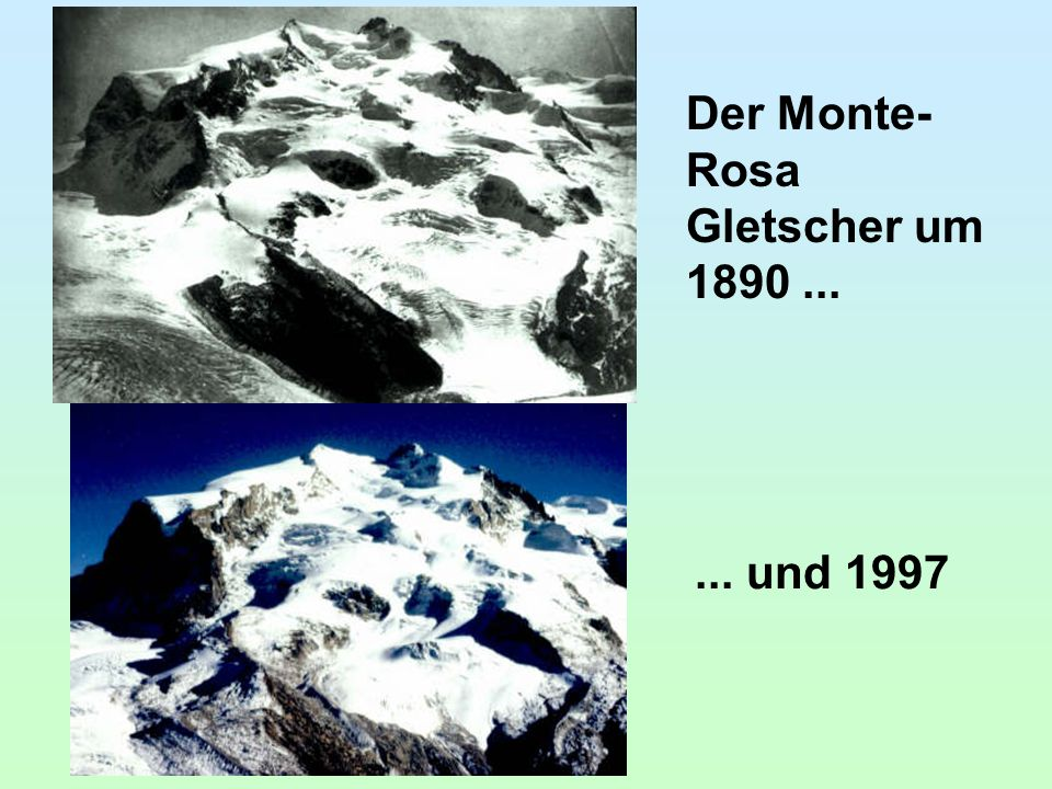 Der Monte- Rosa Gletscher um 1890...... und 1997