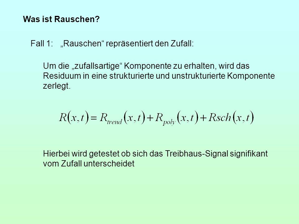 Was ist Rauschen? Fall 1:Rauschen repräsentiert den Zufall: Um die zufallsartige Komponente zu erhalten, wird das Residuum in eine strukturierte und u