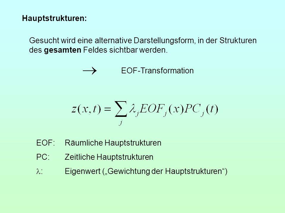 Gesucht wird eine alternative Darstellungsform, in der Strukturen des gesamten Feldes sichtbar werden. EOF-Transformation EOF:Räumliche Hauptstrukture