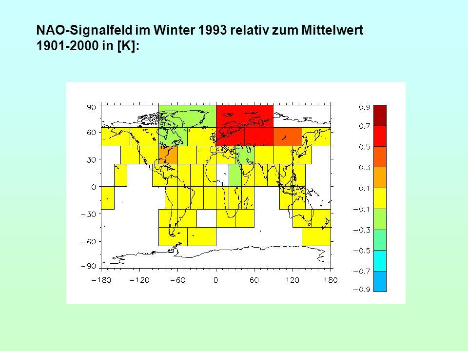NAO-Signalfeld im Winter 1993 relativ zum Mittelwert 1901-2000 in [K]: