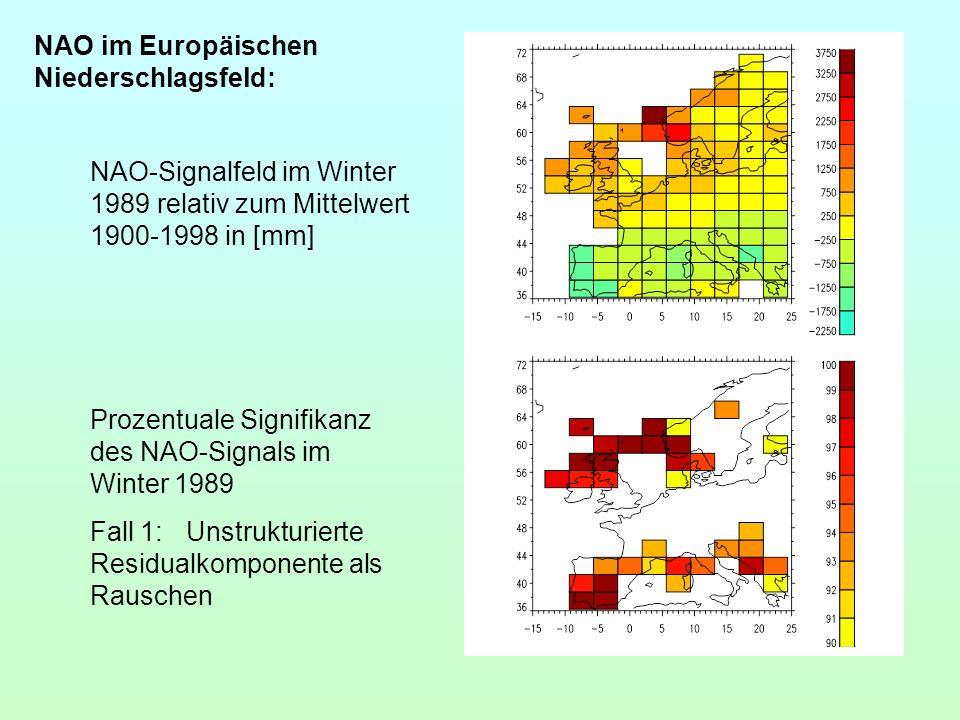 NAO im Europäischen Niederschlagsfeld: NAO-Signalfeld im Winter 1989 relativ zum Mittelwert 1900-1998 in [mm] Prozentuale Signifikanz des NAO-Signals
