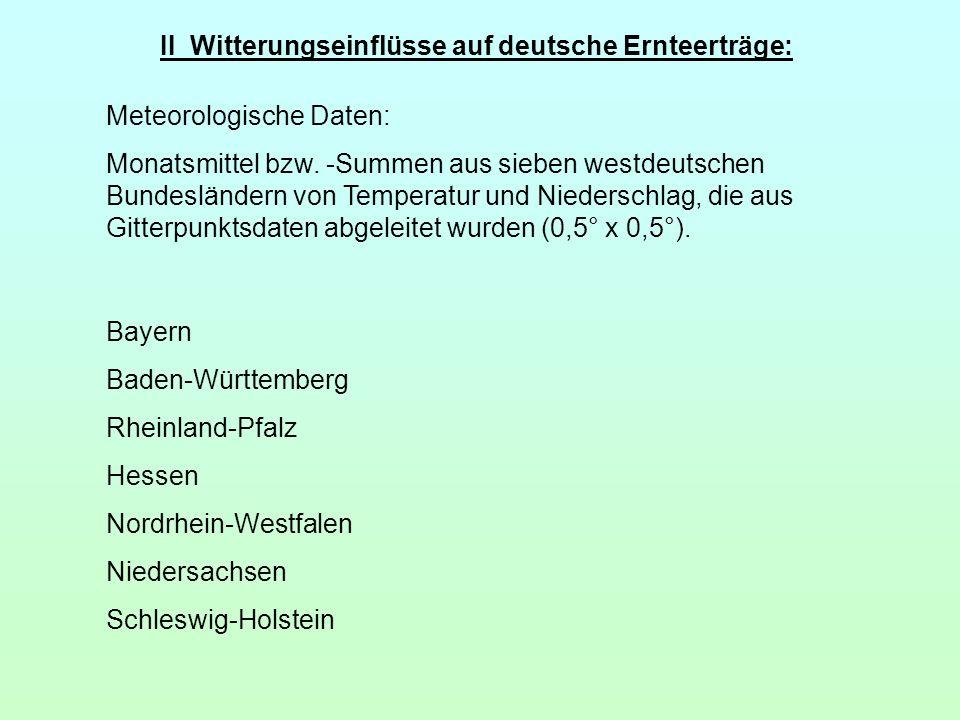 II Witterungseinflüsse auf deutsche Ernteerträge: Meteorologische Daten: Monatsmittel bzw. -Summen aus sieben westdeutschen Bundesländern von Temperat