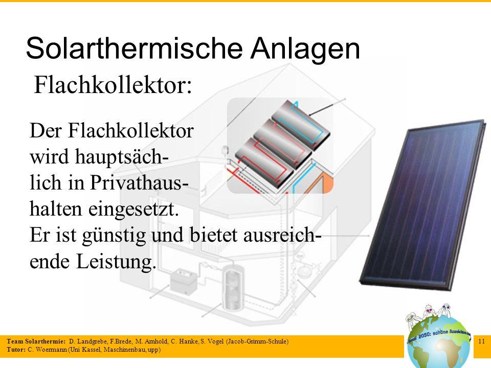 Team Solarthermie: D. Landgrebe, F.Brede, M. Arnhold, C. Hanke, S. Vogel (Jacob-Grimm-Schule) Tutor: C. Woermann (Uni Kassel, Maschinenbau, upp) 11 So
