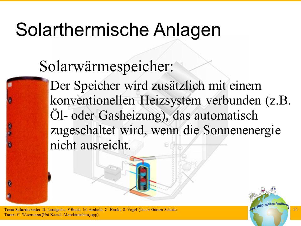 Team Solarthermie: D. Landgrebe, F.Brede, M. Arnhold, C. Hanke, S. Vogel (Jacob-Grimm-Schule) Tutor: C. Woermann (Uni Kassel, Maschinenbau, upp) 15 So