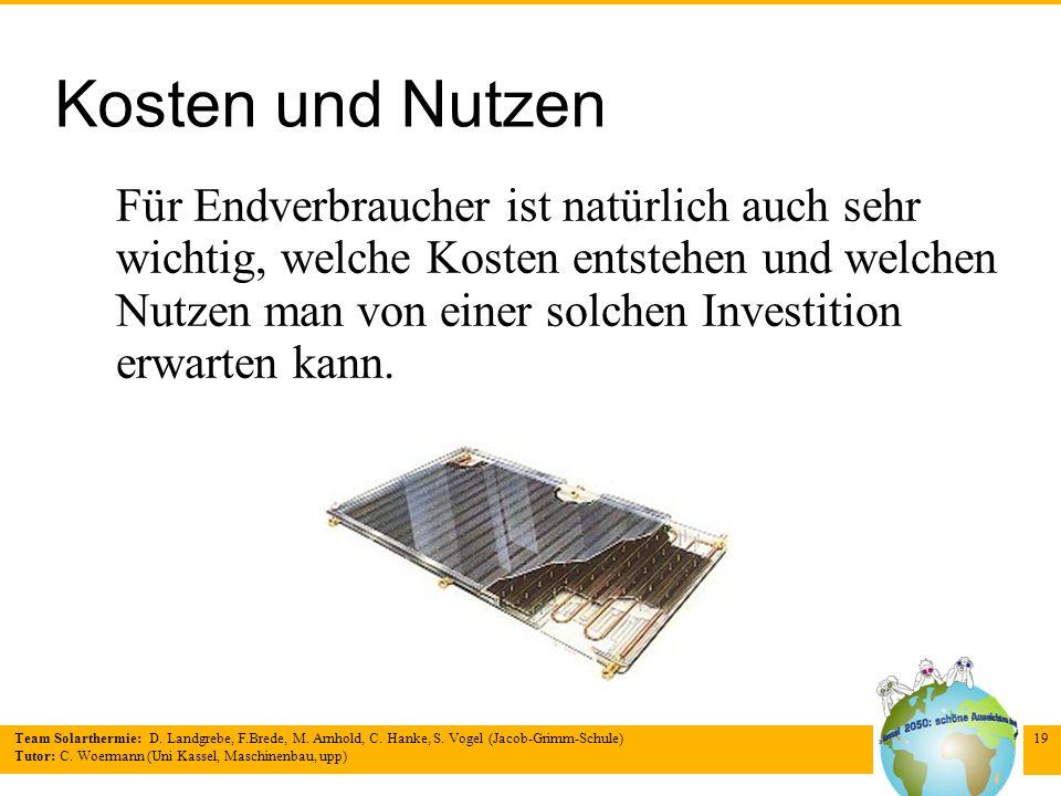 Team Solarthermie: D. Landgrebe, F.Brede, M. Arnhold, C. Hanke, S. Vogel (Jacob-Grimm-Schule) Tutor: C. Woermann (Uni Kassel, Maschinenbau, upp) 19 Ko