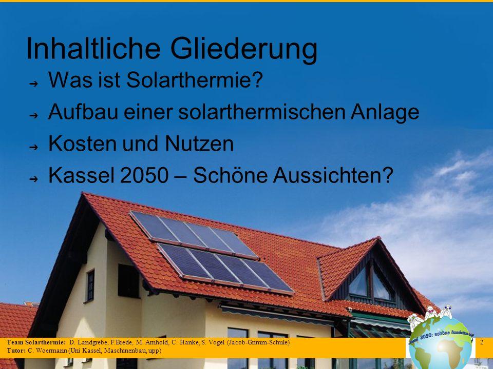 Team Solarthermie: D. Landgrebe, F.Brede, M. Arnhold, C. Hanke, S. Vogel (Jacob-Grimm-Schule) Tutor: C. Woermann (Uni Kassel, Maschinenbau, upp) 2 Inh