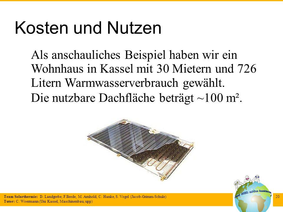 Team Solarthermie: D. Landgrebe, F.Brede, M. Arnhold, C. Hanke, S. Vogel (Jacob-Grimm-Schule) Tutor: C. Woermann (Uni Kassel, Maschinenbau, upp) 20 Ko