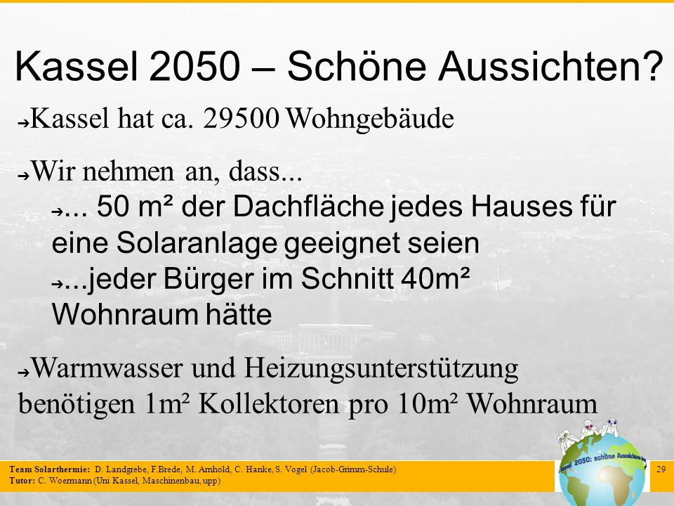 Team Solarthermie: D. Landgrebe, F.Brede, M. Arnhold, C. Hanke, S. Vogel (Jacob-Grimm-Schule) Tutor: C. Woermann (Uni Kassel, Maschinenbau, upp) 29 Ka