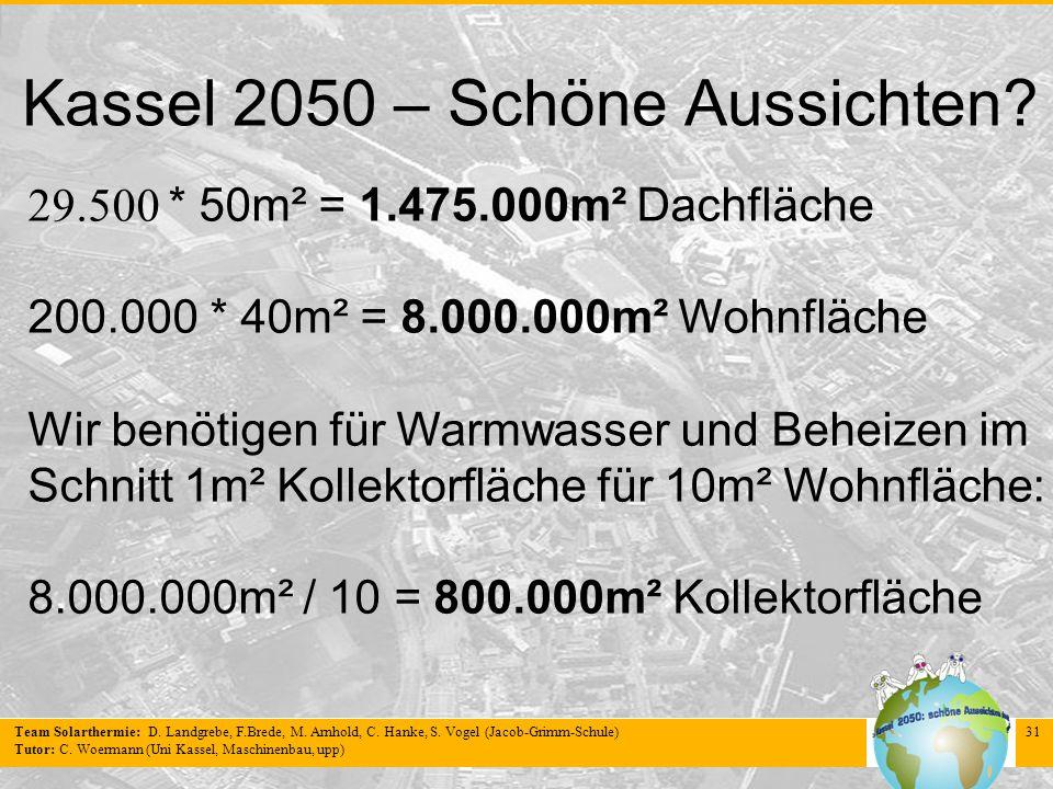 Team Solarthermie: D. Landgrebe, F.Brede, M. Arnhold, C. Hanke, S. Vogel (Jacob-Grimm-Schule) Tutor: C. Woermann (Uni Kassel, Maschinenbau, upp) 31 Ka