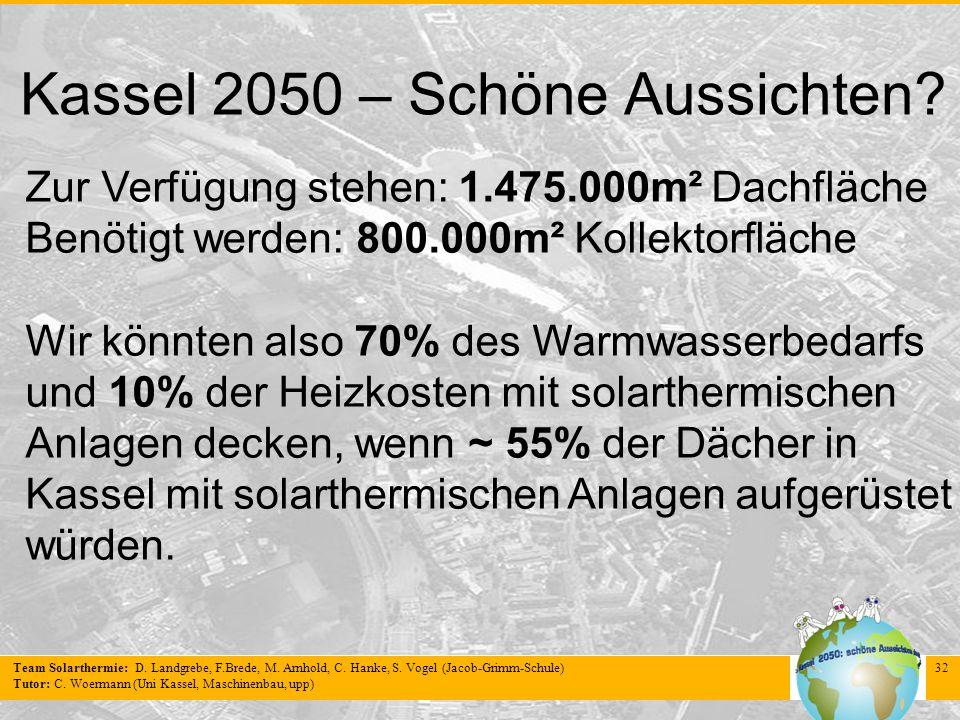 Team Solarthermie: D. Landgrebe, F.Brede, M. Arnhold, C. Hanke, S. Vogel (Jacob-Grimm-Schule) Tutor: C. Woermann (Uni Kassel, Maschinenbau, upp) 32 Ka