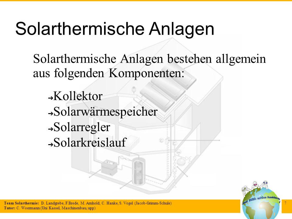 Team Solarthermie: D. Landgrebe, F.Brede, M. Arnhold, C. Hanke, S. Vogel (Jacob-Grimm-Schule) Tutor: C. Woermann (Uni Kassel, Maschinenbau, upp) 7 Sol