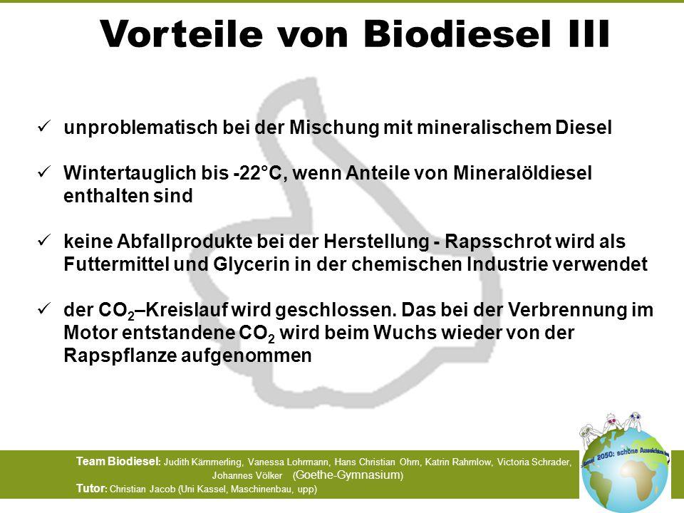 Team Biodiesel : Judith Kämmerling, Vanessa Lohrmann, Hans Christian Ohm, Katrin Rahmlow, Victoria Schrader, Johannes Völker ( Goethe-Gymnasium ) Tuto
